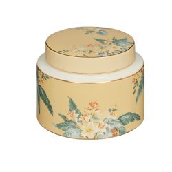 bote de cerámica estampada en tonos dorados con hojas verdes y flores naranjas de diseño