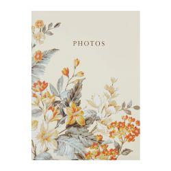 álbum de fotos estampado en tonos dorados de diseño con hojas verdes y flores naranjas