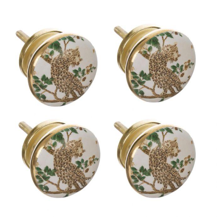 4 pomos para cajón dorados con dibujo de leopardo en ramas