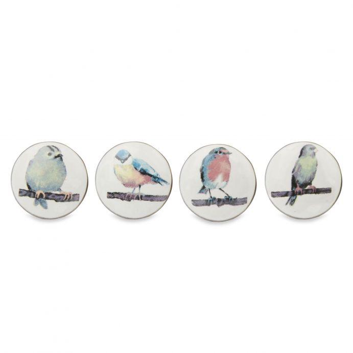 4 pomos para cajón con estampado de pajaritos de diseño