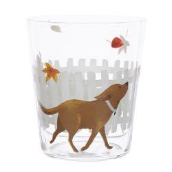 vaso de cristal estampado con perro manzanas y hojas
