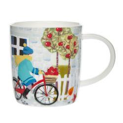 taza de desayubo estampada con bicicleta, perro y hojas de diseño
