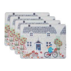 4 manteles individuales de base de corcho con estampado de bicicleta, perro y hojas de otoño de diseño