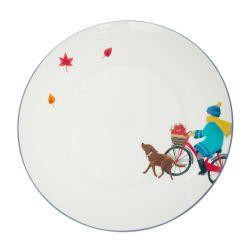 plato redondo de cerámica estampada con diseño de bicicleta perro y hojas de otoño