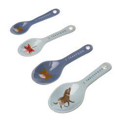 cucharas medidoras para cocina estampadas con perro en azul