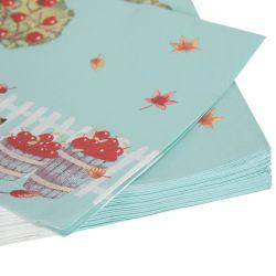 servilletas de papel azul estampado con perro hojas y manzanas de diseño