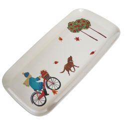 bandeja de melamina estampada con perros, bicicletas y hojas de diseño