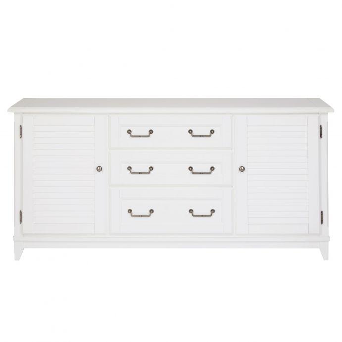 aparador para salón de diseño, en color blanco, con 3 cajones y dos armarios