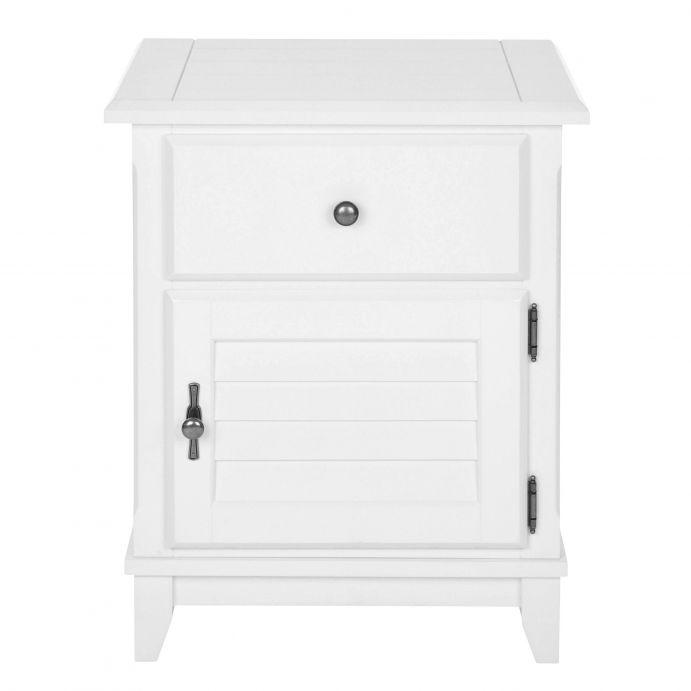 mesilla de noche o mesita auxiliar, de madera pintada en blanco, con cajón y armario