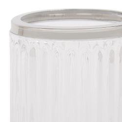 vaso para cepillo de dientes de cristal acanalado de diseño