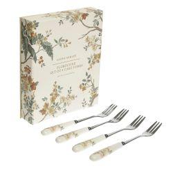 4 tenedores de postre con empuñadura cerámica estampada