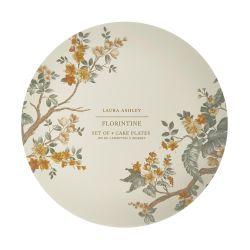 platos de postre estampados con flores doradas