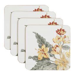 4 posavasos cuadrados estampados con flores de color dorado