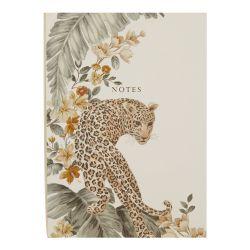 cuaderno de tapa dura tamaño A5 con leopardo dorado
