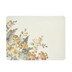 4 salvamanteles rectangulares con diseño de flores doradas