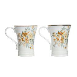 2 tazas cerámicas estampadas con flores doradas de diseño