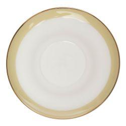 conjunto de 2 tazas con platos cerámicos estampados con flores doradas
