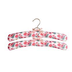 2 perchas acolchadas forradas con tela flores rosa