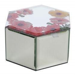 joyero de cristal espejado estampado con flores en la tapa