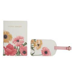 funda de pasaporte y etiqueta para maleta decorada con flores rosas