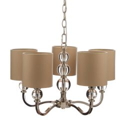 lámpara de techo Selby níquel 5 brazos