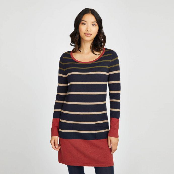 Vestido de punto a rayas  azul y rojo