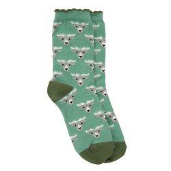 Suaves calcetines verdes con dibujos de cabras