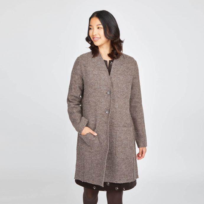 Abrigo de lana jaspeado capuchino