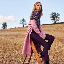 Abrigo de lana rosa