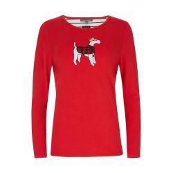 Camiseta manga larga roja con perro