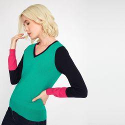 Jersey en verde, azul marino y rosa fuerte