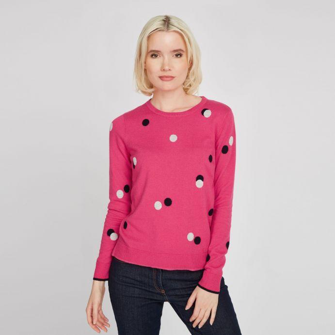 Jersey rosa con lunares y cuello redondo
