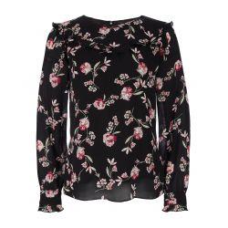 Blusa floral en negro y rosa