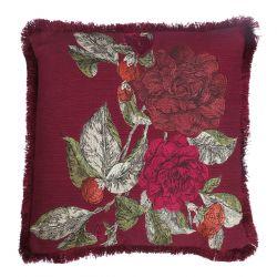 cojín rojo arándano bordado con rosas