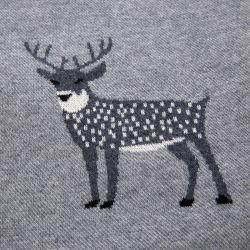 manta de tacto peluche gris con renos