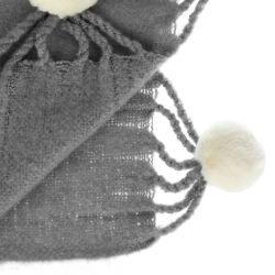 manta Pompom carbón pálido - 160x220