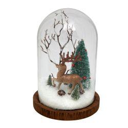 campana de cristal decorativa con luz con reno y abeto nevado para navidad