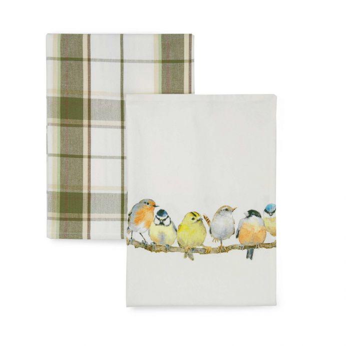 2 paños de cocina de algodón estampado con pájaros y cuadros verdes