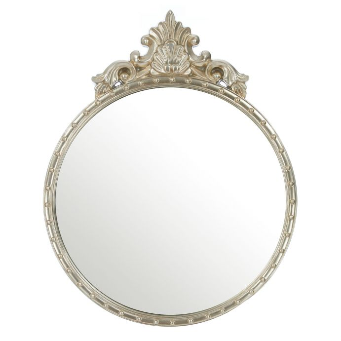 espejo de pared redondo con detalle rococó acabado champan