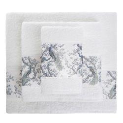 toallas blancas con cenefa de pavos reales azul noche de diseño