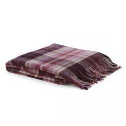 manta de lana de cuadros con flecos en color morado de diseño