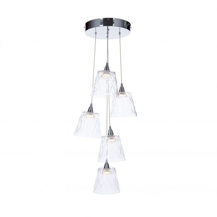 lámpara de techo con 5 pantallas de cristal colgantes