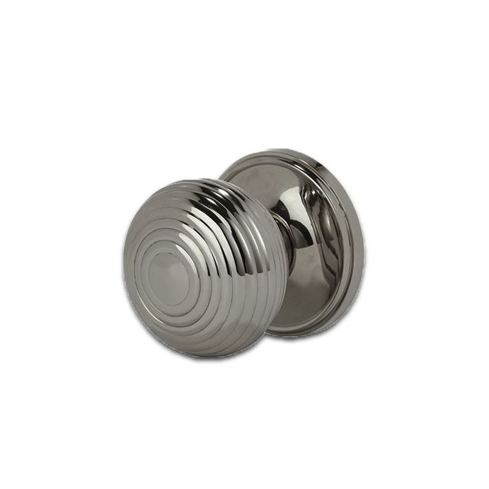 pomo para puerta Ribbed níquel