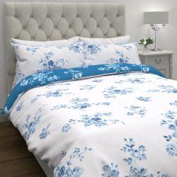 funda nórdica y fundas de almohada estampada con rosas en azul y blanco de diseño