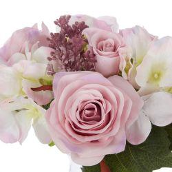 rosas y hortensias rosa en jarrón de cristal - artificial