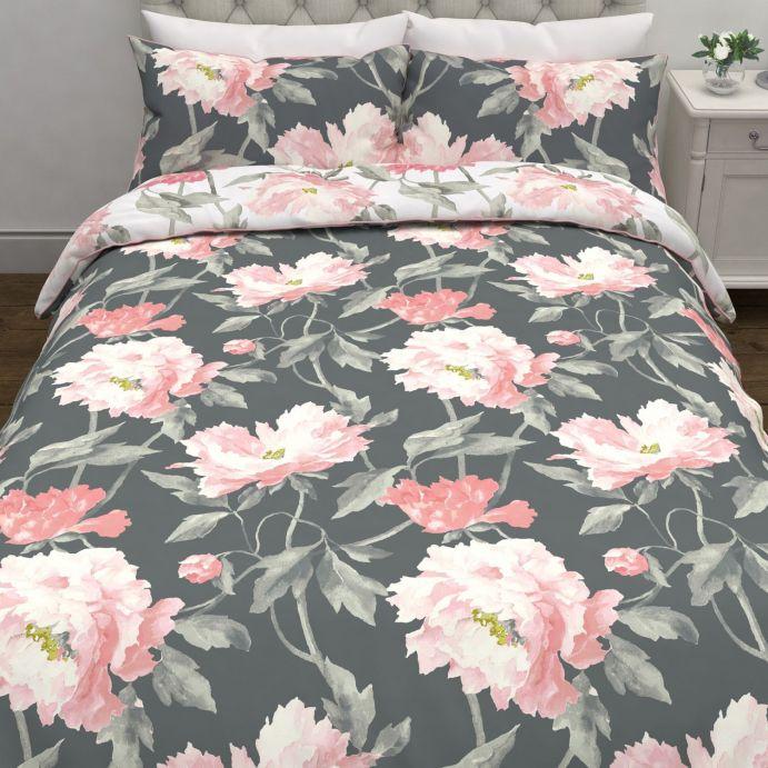 conjunto de cama Peonies gris humo oscuro
