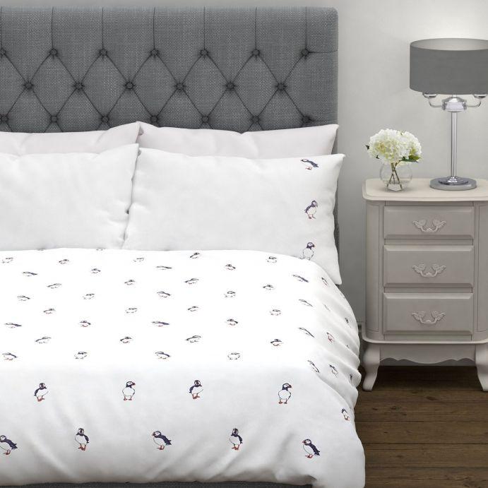 conjunto de cama Puffins bordado gris plata