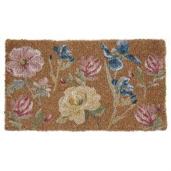 felpudo de diseño en tono natural con flores estampadas multi color