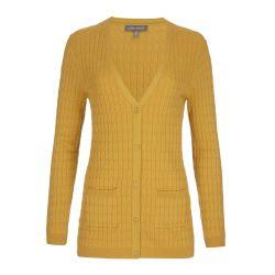 chaqueta de punto amarillo cuello V