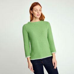 Jersey punto moss verde sauce cuello redondo